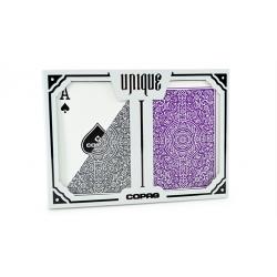 COPAG UNIQUE PLASTIC POKER SIZE REGULAR INDEX (Gris et violet) Double-Deck wwww.magiedirecte.com