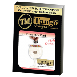 TWO COINS THRU CARD  (Half Dollar) - Tango wwww.magiedirecte.com