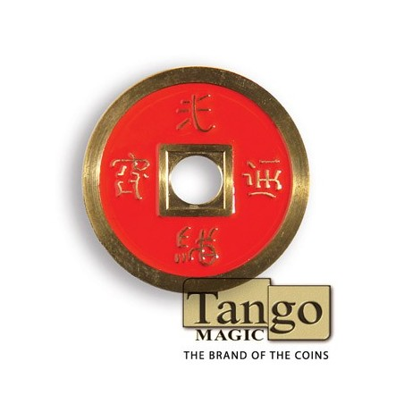 Normal Chinese Coin made in Brass (Red) by Tango -Trick (CH011) wwww.magiedirecte.com