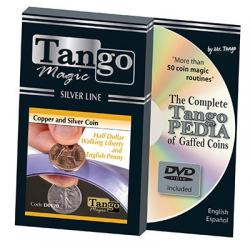 Tango Silver Line Copper and Silver Walking Liberty/English Penny (w/DVD) (D0120) by Tango - Trick wwww.magiedirecte.com