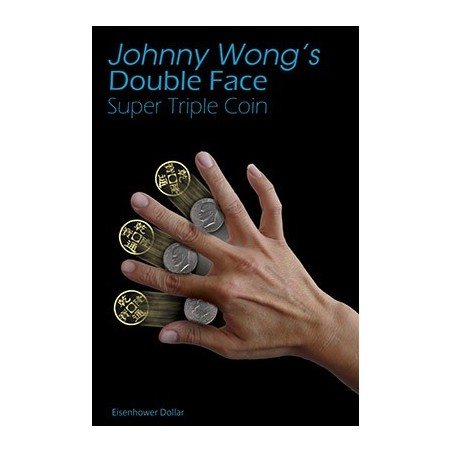 Double Face Super Triple Coin Eisenhower Dollar (with DVD) by Johnny Wong -Trick wwww.magiedirecte.com