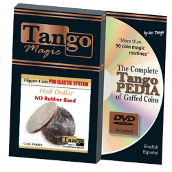 Flipper Coin Pro Elastic System (Half Dollar DVD w/Gimmick)(D0089) by Tango - Trick wwww.magiedirecte.com