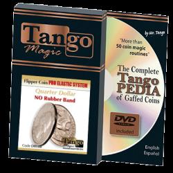 Flipper Coin Pro Elastic System (Quarter Dollar DVD w/Gimmick)(D0148) by Tango - Trick wwww.magiedirecte.com