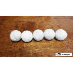 "Crochet 5 Ball combo Set (1""/White) by Mr. Magic - Trick wwww.magiedirecte.com"