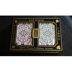 KEM Bridge Plastic Playing Cards Jacquard (Purple and Green 2 Deck Set Jumbo Index) - Trick wwww.magiedirecte.com