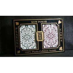 KEM Poker Plastic Playing Cards Jacquard (Purple and Green 2 Deck Set Standard Index) - Trick wwww.magiedirecte.com